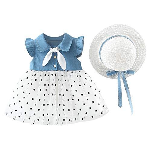 MALLOOM Baby Kids Girls Dot Patchwork Tulle Dress Princess Dresses Clothes+Hat Light Blue