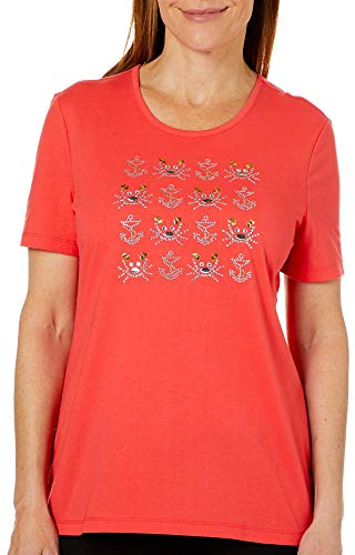 (Coral Bay Womens Jeweled Coastal Crab Grid Top X-Large Cayenne)