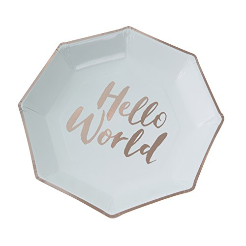 Ginger Ray Hello World Mint & Rose Gold Baby Shower Paper Plates x 8 - Hello - Ray Ray Baby