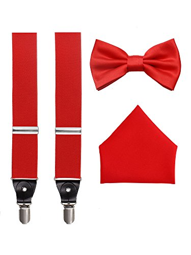 Suspenders, Bow Tie and Pocket Hanky Set - Red -