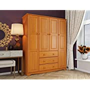 """100% Solid Wood Family Wardrobe/Armoire/Closet 59620 by Palace Imports, Honey Pine, 60"""" W x 72"""" H x 21"""" D. 3 Clothing Rods Included. NO Shelves Included. Optional Shelves Sold Separately."""