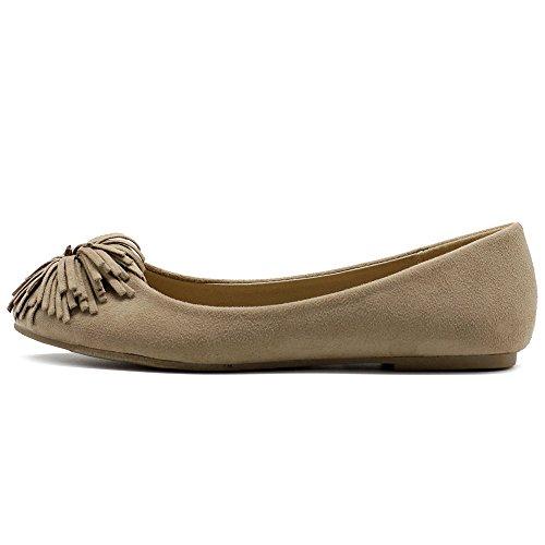 Flower Ballet Suede Women's Ollio Beige Ribbon Faux Shoe Flat qSqRxYI