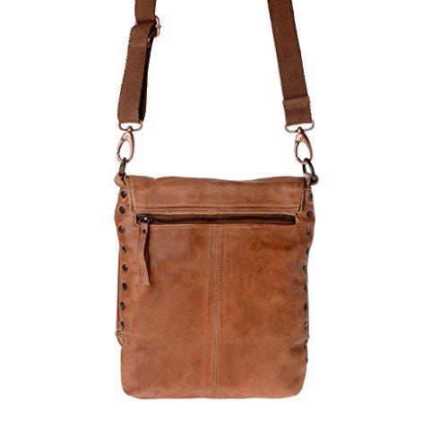 Herrentasche mit Träger aus gewaschenem Leder mit Überschlag und Nieten, der Marke DUDU Onyx Brown