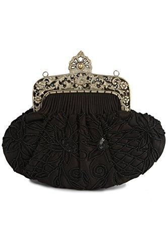 Cadre à sac simple en laiton noir avec relief en rubis Mybatua en forme Acp-090