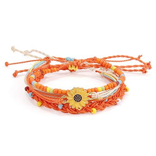 Pengruizhi Sun Flower Handmade Waterproof Braided Jewelry Bracelet Wax Coated Wave Charm Beach Bracelets 4Pieces/Set,Adjustable -