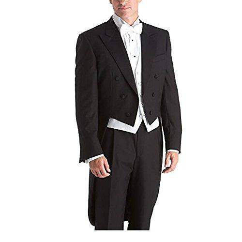 Botong Black Notch Lapel Wedding Suit Tailcoat 3 Pieces Groom Suit Men Suit Black 50 chest / 44 waist