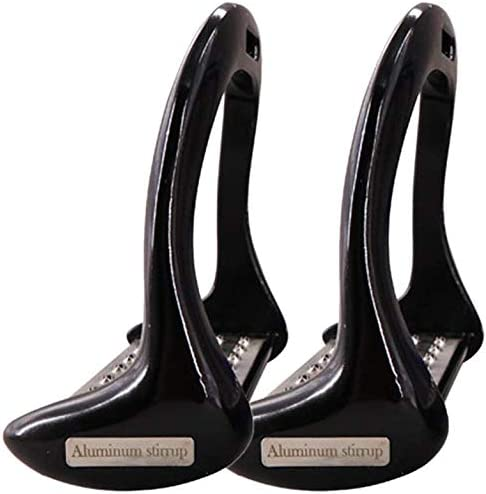 1 Paar Pferd Steigbügel, Rutschfest Aluminium Sicherheit Steigbügel Reiten Reiter Pferd Steigbügel - Schwarz