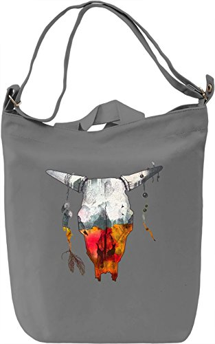Two Side Skull Borsa Giornaliera Canvas Canvas Day Bag| 100% Premium Cotton Canvas| DTG Printing|