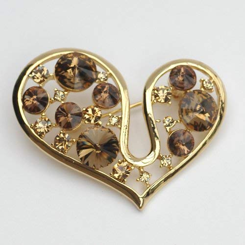 JINGB Filigree Heart Love Crystals Brooch pin with Elements 14k Gold