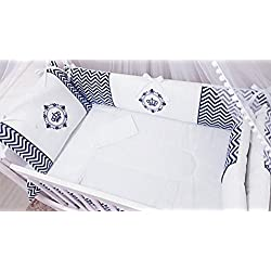 Crown Themed Navy Blue Baby Boy 10 Pcs Nursery Crib Bedding Set Embroidered