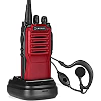 Amcrest ATR-22 UHF Portable Radio Walkie Talkie Frequency Range 400-470 MHz FM Transceiver 16 Programmable Channels High Power Flashlight Walkie-Talkie Two-Way Radio FCC Cert. (Red)