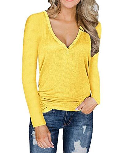 Tinta Sweater Autunno Jumper Manica ulein Casual Lunga Moda Maglieria T shirts V Donne Primavera Scollo Fox E Unita Maglioni Fr Sottile Pullover IgqSaxxw