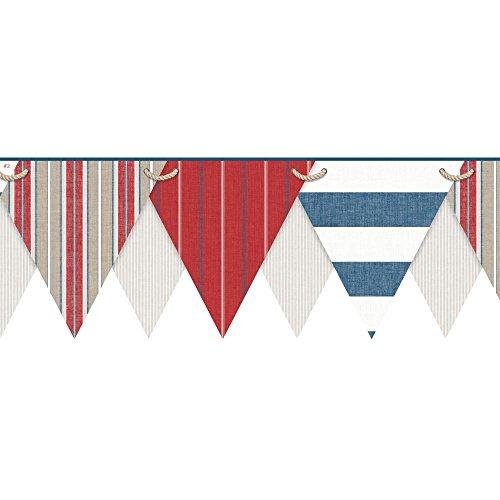 York Wallcoverings NY4904BDSMP Nautical Living Striped Pennant Border Memo Sample, 8-Inch x 10-Inch, Beige, Ecru, Tan, White, Red, Marine Blue ()
