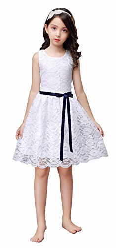 Sash Taffeta Wedding Dress (Shop Ginger Wedding White Flower Girl Dress Lace Bow Sash Children Communion D6 120 (5-6Y, Navy))