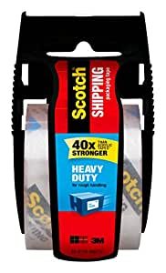 Scotch Heavy Duty Shipping Packaging Tape with Dispenser, 1.88 in. x 800 in., Clear, 1 Dispenser/Pack