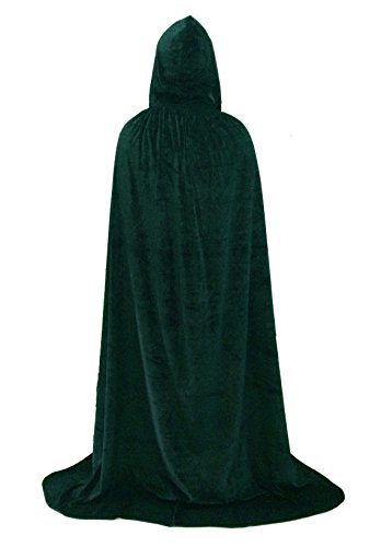 [Hooded Cape Role Play Halloween Family Costume Velvet Cloak Dark green] (Halloween Costumes For The Family)