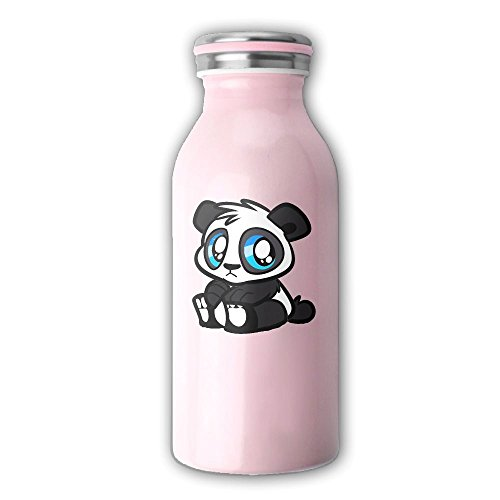 Cartoon Panda Stainless Steel Milk Bottle Cup Vacuum Insulated Thermos Drinking Water Bottle 13OZ,350ML Pink
