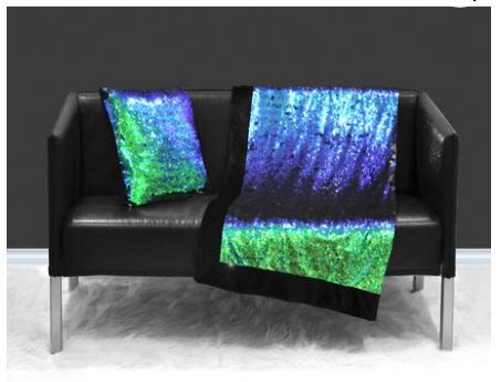 Mermaid Reversible Sequin Sparkle Throw Blanket, Green and Blue Reverse to Black (50in x 60in)