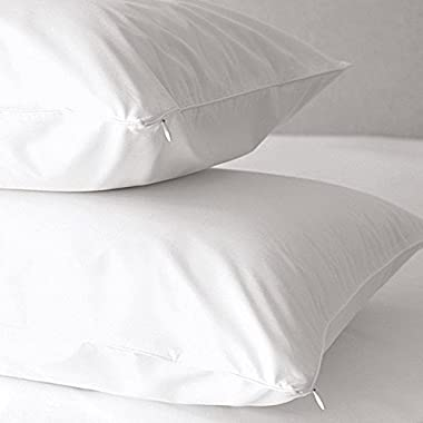 Premium Allergy Pillow Protectors - Multi-Purpose Hypoallergenic Dust Mite & Bed Bug Free 100% Cotton 500 Thread Count Zippered Pillow Covers - 2 Pack By Home Fashion Designs (King)