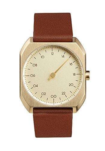 slow Mo 07 - Swiss Made one-hand 24 hour watch - Gold with brown leather band