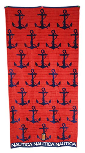 Nautica 36 x 68 Reversible Navy Blue Anchors on Red Background Beach Towel ()