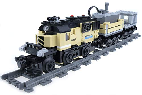 (inFUNity Motorized Cargo Toy Trains Blocks Compatible with Lego Train Track, Electric Train Set)