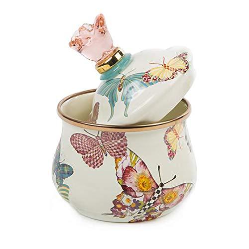 Mackenzie Childs Butterfly Garden Lidded Sugar Bowl - White