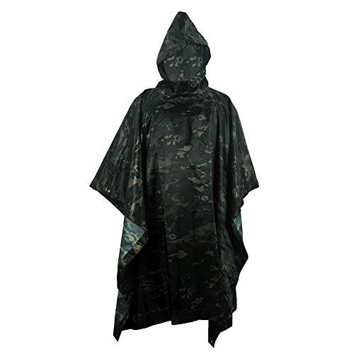 Jayslim Multifunción Camuflaje de Emergencia Poncho de Lluvia–Ligera Slicker Ripstop Rainwear–Perfecto para Senderismo Caza Camping, CP-TY