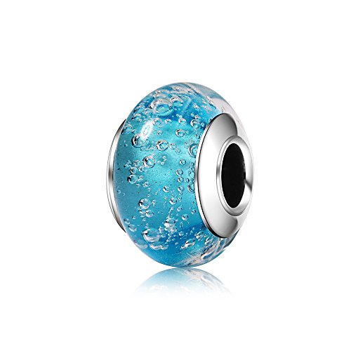 BEAUTY CHARM 925 Sterling Silver Blue Bubbles Murano Synthetic Glass Charms Beads Fit Pandora Bracelets for $<!--$8.99-->