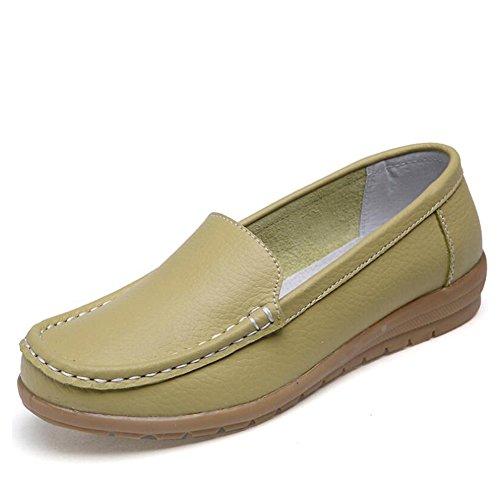 SHINIK Zapatos de mamá de cuero planos de Ons Primavera Zapatos mujer Slip Top Oxford Segundo Zapatos de guisantes Verano Mocasines Low rCwqrtZn