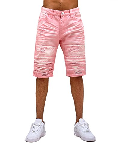 e274be4ac9659 Smoke Rise Men s Bleached Twill Shorts With Pleated Knee-Blush-34