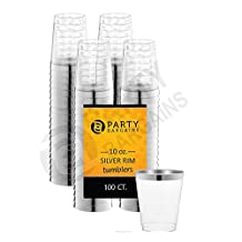 Party Bargains Clear Tumblers Cup   Disposable Hard Plastic With Silver Rim Cups Perfect for Party & Weddings - 10 oz   Pack of 100