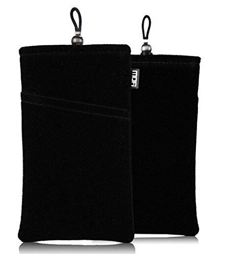 SOSAM 2Xpack Microfiber Sleeve Pouch Cover CasePouch For iphone 5 5S /iphone 6 6plus , Samsung HTC ONE / Blackberry Z10 Mini Wallet Purse Hand Bag Cloth Coin Cell Phone Bag Mobile Pouch (Black)