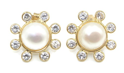 Mabe White Pearl & Cubic Zirconia Earrings,14k Yellow Gold 14k Yellow Gold Mabe Pearl