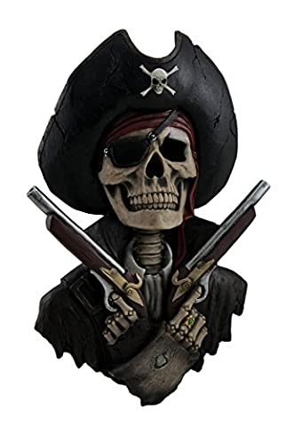 Muted Menace Crossed Pistols Pirate Skeleton Wall Sculpture 16 Inch