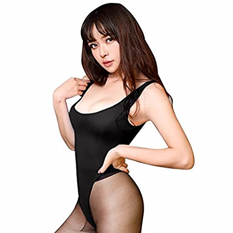 FEESHOW Women's Open Crotch Soft Smooth Bodysuit Leotard Top Teddy Lingerie Black One size - Open Crotch Teddy