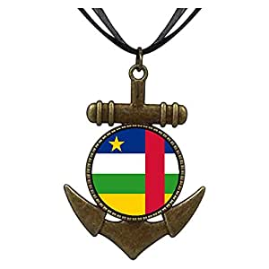 Chicforest Bronze Retro Style Central African Republic flag Anchor Pendant