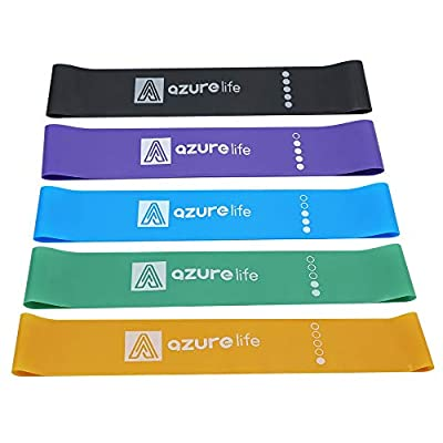 A AZURELIFE Resistance Loop Bands, Set of 5 Exercise Loop Bands, 5 Color-Coded Stretch Levels Workout Elastic Bands with Instruction Guide for Physical Therapy, Rehab, Stretching, Home Fitness&More