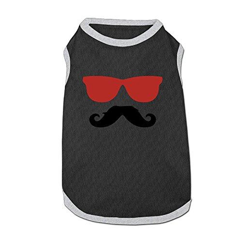 Cowboy Moustache Sunglasses Pet Doggie 100% Fleece Vest Clothes Black - Rocky Sunglasses