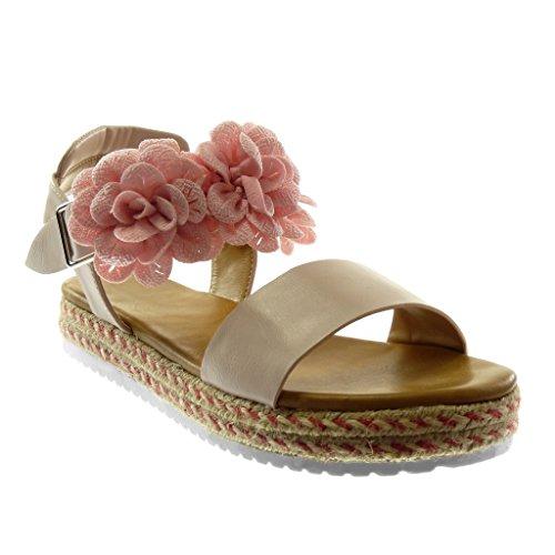 Angkorly Damen Schuhe Sandalen Mule - Knöchelriemen - Plateauschuhe - Blumen - Seil - String Tanga Keilabsatz High Heel 3 cm Rosa