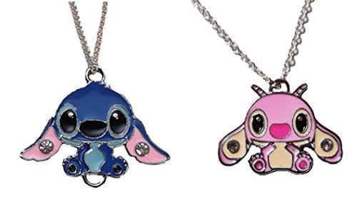(New Horizons Production Lilo & Stitch Stitch and Angel Pendant Chain Necklace Set)