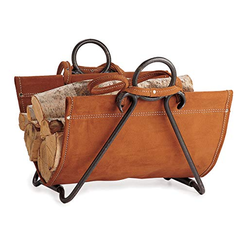 Pilgrim Home and Hearth 18517 Forged Iron Log Carrier, 29″W x 17.5″H x 14″D 9 lbs, Brown Suede ()