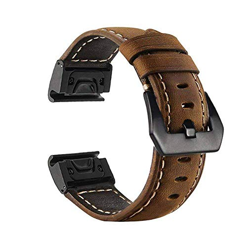 Large Size Watch Band for Garmin Fenix 3/Fenix 3 HR/Fenix 5X/D2 Charlie/Descent Mk1 Replacement Watch Band Quick Release Band Bracelet Strap Genuine Calf Leather Wristband by Yooside - Charlie Band