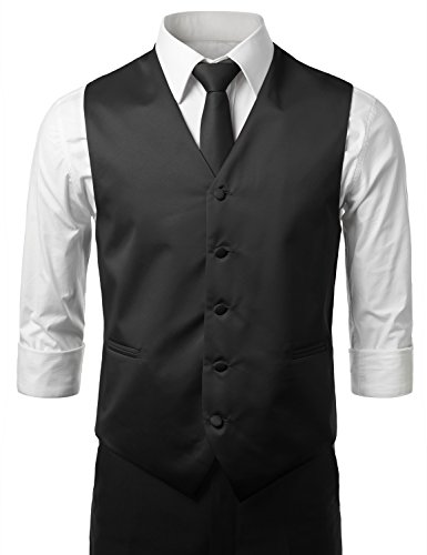 [MONDAYSUIT Men's 3 Pieces Set Solid Formal Tuxedo Vest Set / BLACK-4XLARGE] (Big And Tall Formal Wear)