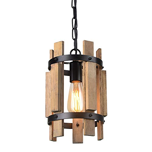 (Giluta Wood Pendant Light Cylinder Chandelier Lamp Rustic Farmhouse Hanging Pendant Light Vintage Ceiling Light Fixture 1 Light, Light Brown (P0038))