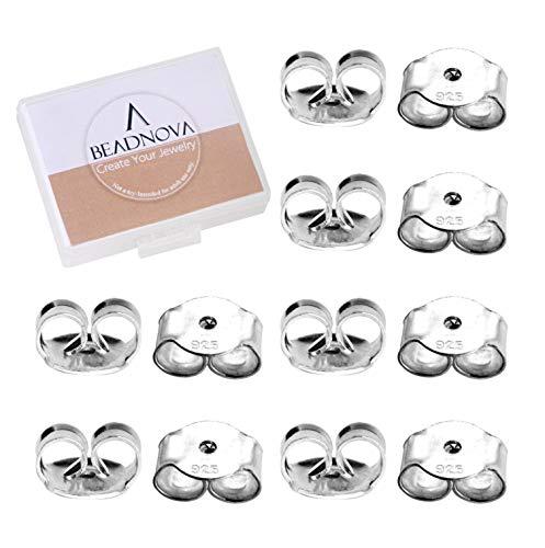 BEADNOVA Earring Backs 925 Sterling Silver Replacement Earring Backs Secure Silver Ear Locking for Stud Earrings (12pcs) (Lock Silver 925)