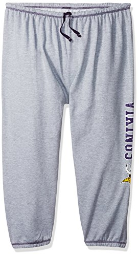 NFL Team Apparel NFL Minnesota Vikings Women Lt Weight Fleece Pant W/Topstitch Trim Outside Ds W/M Logo Down Leg, Heathergrey, 2X -