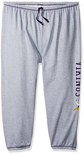NFL Minnesota Vikings Women Lt Weight Fleece Pant W/Topstitch Trim Outside Ds W/M Logo Down Leg, Heathergrey, 3X