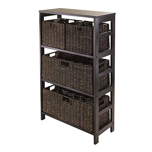 Granville Storage Shelf - Winsome Granville 5-Piece Storage Shelf with 2 Large and 2 Small Foldable Baskets, Espresso