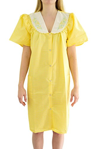 - Ezi Women's 'Esther' Cotton Blend House Dress,Yellow, 2X